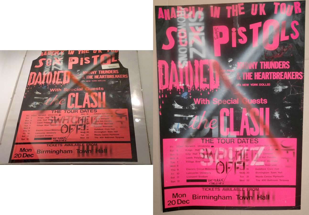 Repair work done on a Sex Pistols 'Anarchy Tour' poster